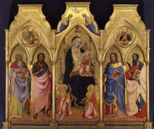 Agnolo Gaddi, Vergine con il Bambino tra i santi Giovanni Evangelista, Giovanni Battista, Giacomo e Bartolomeo, Berlino, Gemäldegalerie