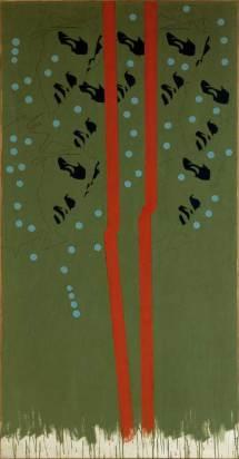 Tano Festa, Michelangelo according to Tano Festa n. 21, 1967, smalto su tela, cm 182,5, ×91, Roma, Galleria Nazionale d'Arte Moderna, inv. 12839