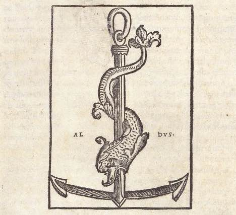Dolphin and anchor printer's device of Aldus Manutius. Hippocrates, Opera (Venice: Aldus Manutius, 1526). Manchester, JRL 3113.