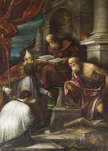 2. La pala di Sant'Antonio Abate di Jacopo e Francesco Bassano conservata nella chiesa di Civezzano