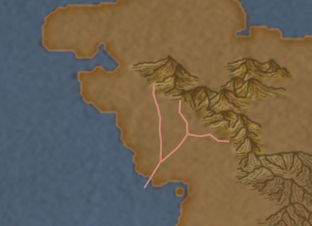 2) Disegnate dei segmenti di tracciato a partire dalle montagne che scendono a zig zag verso il mare. Anche in questo caso aggiungete dei tracciati più piccoli che rappresentino gli affluenti.
