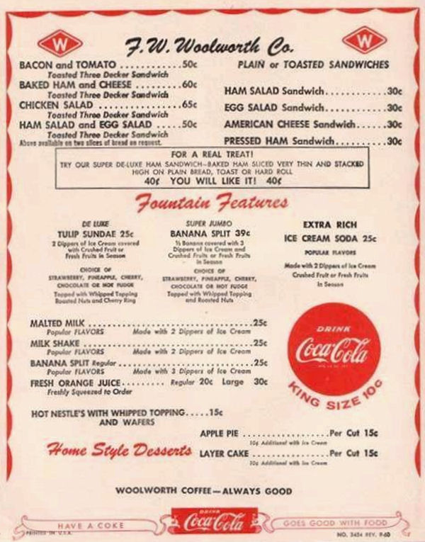 F W Woolworth Co 1950s Era Menu