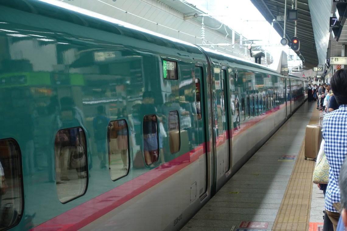 Hayabusa Shinkansen at platform