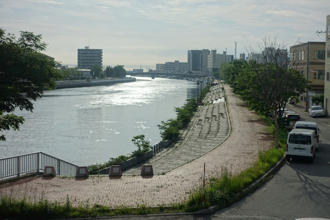 River flowing through to central Abashiri