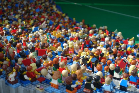 Crowd of Lego figurines