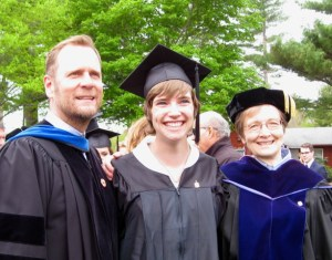 McKenzie with biblical studies faculty Dr. Steven Hunt (left) and Dr. Elaine Phillips (right)