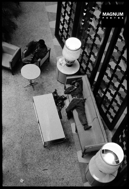 """CUBA. La Havana. 1959. """"Fidelistas"""" take over the Hilton Hotel and get their first rest after living in the field for months. ©BurtGlinn/Magnum"""