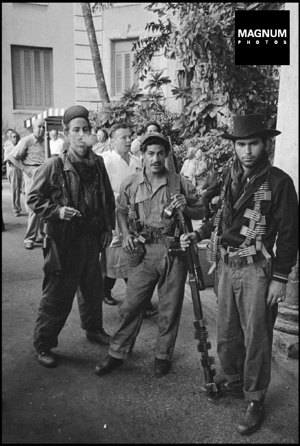 """CUBA. La Havana. 1959. CASTRO's partisans who fought with him in the mountains, the """"barbudos"""", escorted him into the liberated city of La Havana. ©BurtGlinn/Magnum"""