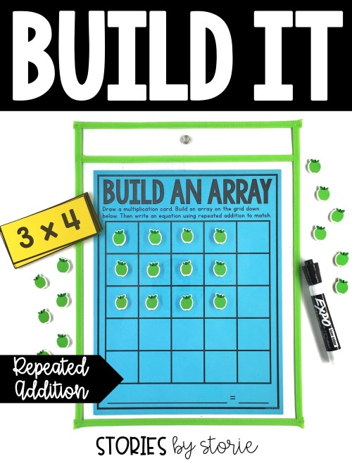 Students can build arrays using mini erasers, math manipulatives (cubes, counters, etc.), or other small objects and write the equation using a dry erase marker.
