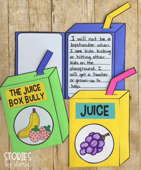 After reading The Juice Box Bully, students can make these juice box crafts. On the inside, students can write about not being a bystander when they see bullying or bad behavior happening.