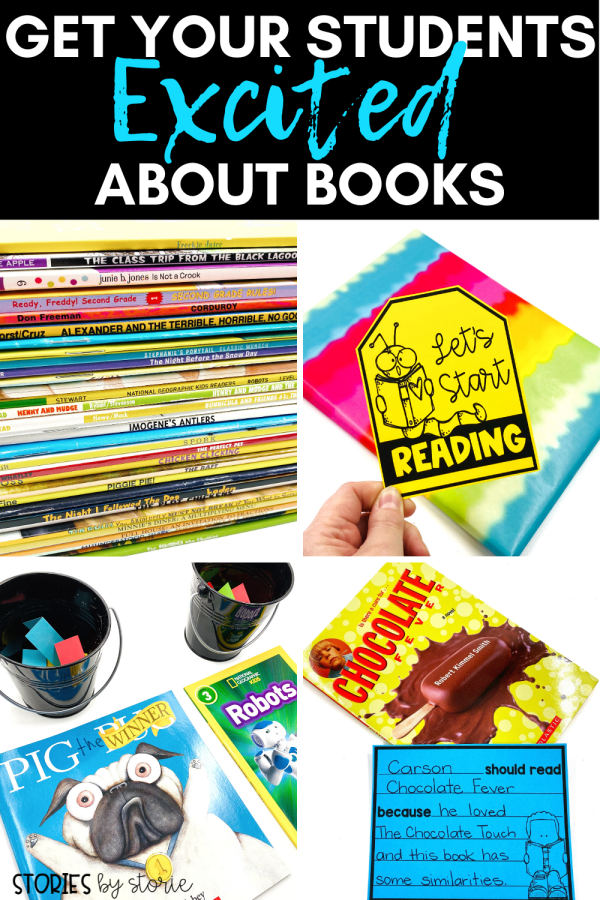 Are you struggling to get your reluctant readers excited about the books available to them? Are your students losing interest in reading in favor of daydreaming about warmer weather? Here are some of my favorite ways to get my students excited about books throughout the school year!