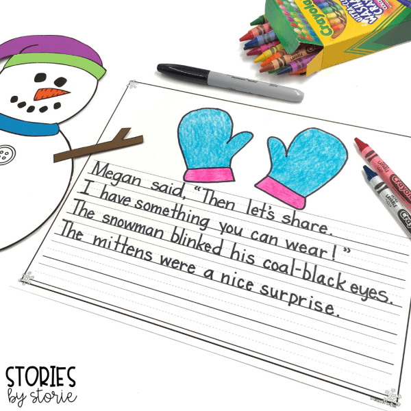 Every time the children rebuild Sneezy the Snowman, they offer a new item of clothing for Sneezy to wear to stay warm. For a simple written response, you can have students change up the text and make small substitutions to keep the rhythm of the author's writing style. These can stand alone or be paired with the snowman craft.