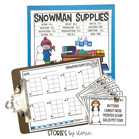Do your students need more practice adding up to four, 2-digit numbers? Take them shopping without even leaving the classroom. Students will determine the total cost of items needed to build a snowman.