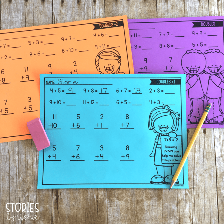Looking for a fun way to practice doubles facts? Take a look at these games! Students will get the practice they need while having fun. Included are three games for doubles facts, three games for doubles + 1 facts, and three games for doubles + 2 packs. There are also anchor charts, practice pages, and color by number pages.