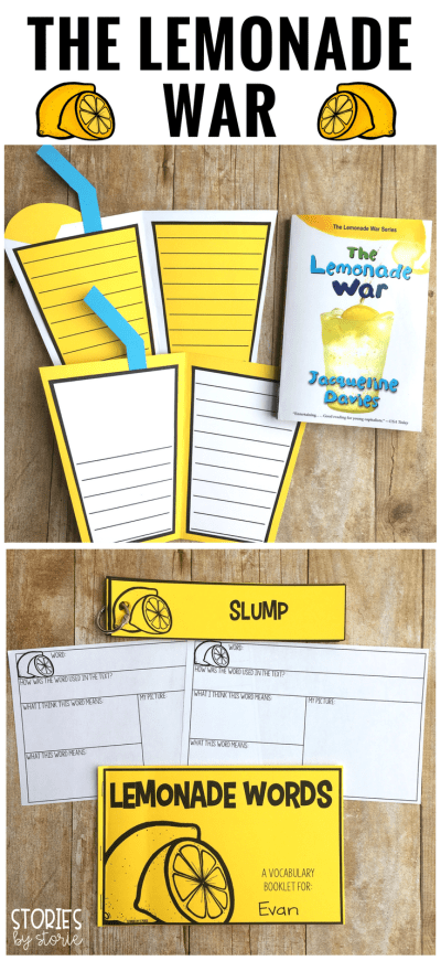 Looking for activities to use with The Lemonade War by Jacqueline Davies? Take a look at this lemonade craft and vocabulary booklet.