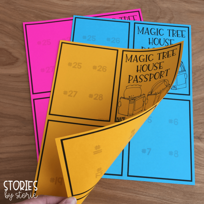 These Magic Tree House Passport Booklets are created from two pages printed back-to-back. There is room to add one stamp for each of the original 28 books in the series.