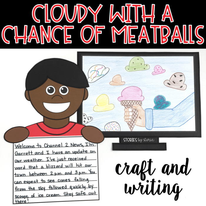 After reading Cloudy with a Chance of Meatballs, students can create their own wild weather reports, draw a scene of their wild weather on a TV screen, and then make a kid reporter craft.