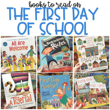 Here is a great list of books you can share with your students on the first day of school.