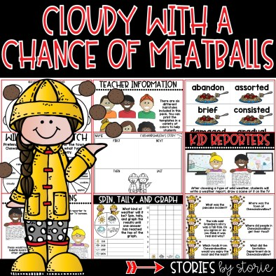This Cloudy with a Chance of Meatballs book companion contains comprehension questions, vocabulary words, graphic organizers, and a kid reporter craft that can be paired with a wild weather report.