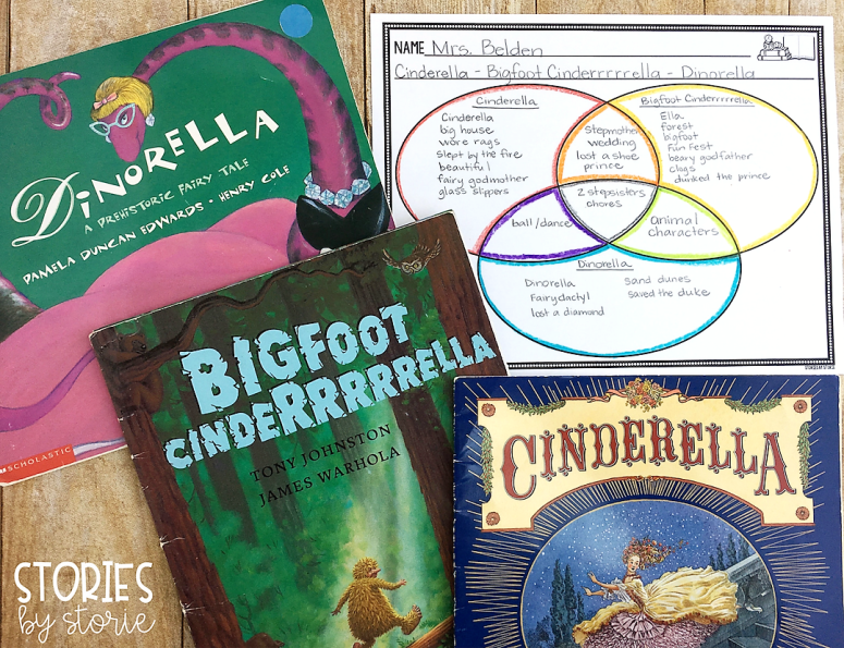 Fairy tales are great books for teaching students to compare and contrast. Venn Diagrams are a great tool to use to show where the stories overlap and share similarities.