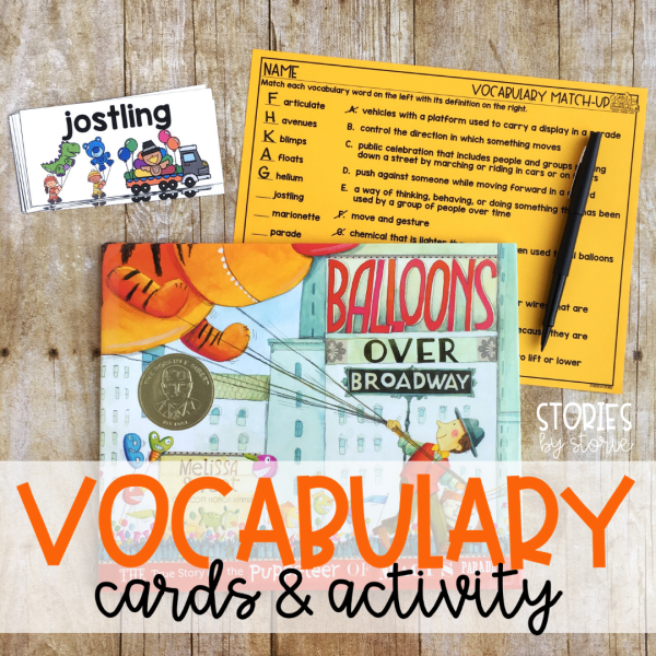 This book companion focuses on 12 vocabulary words from Balloons Over Broadway by Melissa Sweet. There are vocabulary cards along with a vocabulary match-up page to check for student understanding of these new terms.