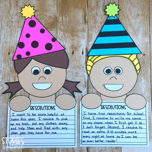 After reading Squirrel's New Year's Resolution, students can write their own resolution and create this kid craft to pair with it.