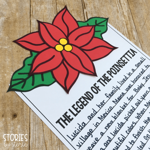 I have created this poinsettia craft that will add a beautiful pop of color to student writing. Students can retell The Legend of the Poinsettia in their own words, or respond to one of the other prompts I have included.