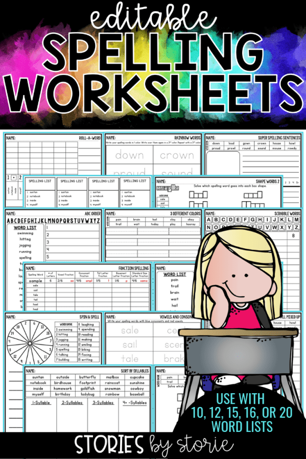 Students need time to practice their spelling words. By having a large number of activities to offer, you can avoid falling into the spelling rut! These low-prep editable spelling worksheets help students practice their words in a fun and engaging way. Type your list of words one time and all of the worksheets will be created at once. Some answer keys will also be created to save you time!