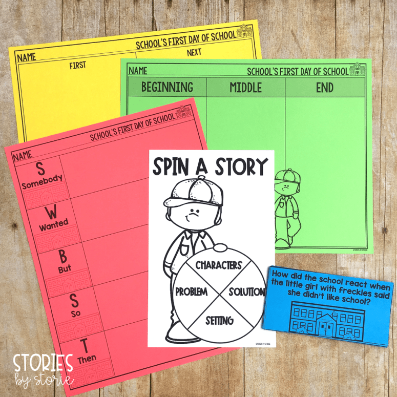 After reading School's First Day of School, you can check student comprehension with these activities. There are graphic organizers to work on summarizing and retell and this spinner activity helps students focus on story elements.