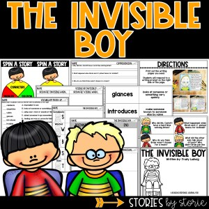 The Invisible Boy Book Companion - contains comprehension activities, vocabulary, character charts, graphic organizers, and a directed drawing that can be paired with a writing prompt.
