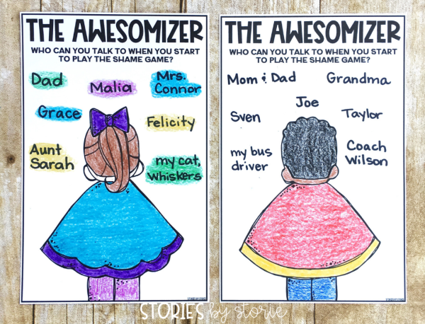 Students can become superheroes with this Awesomizer activity. Students will list friends and grown-ups they trust and can talk to when they start to feel shame.