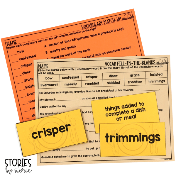 I selected 12 vocabulary words to focus on from Thanksgiving at the Tappletons'. Each vocabulary card has a matching definition. Students can play a memory matching game or use them in a pocket chart center. Then, students can work with their vocabulary words using this fill-in-the-blanks page and vocabulary match-up activity.