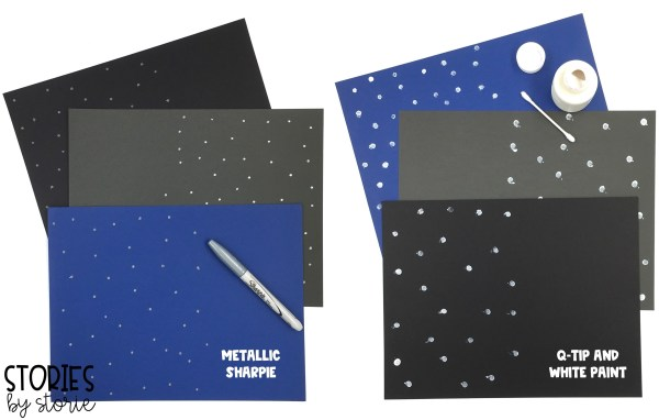 To create a nighttime scene like the one in Night Tree, students can add stars to their background paper using a metallic sharpie or white paint.