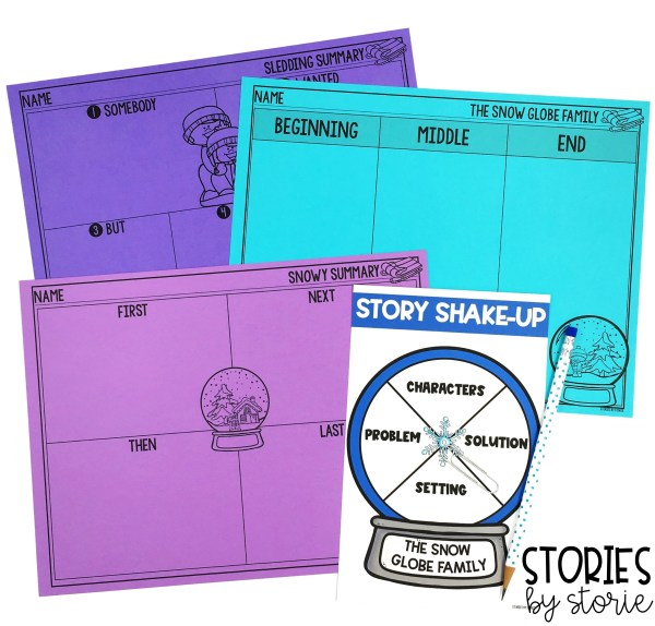Once students can sequence The Snow Globe Family, they are ready to retell or summarize. They can even focus on story elements with this Story Shake-Up spinner activity.