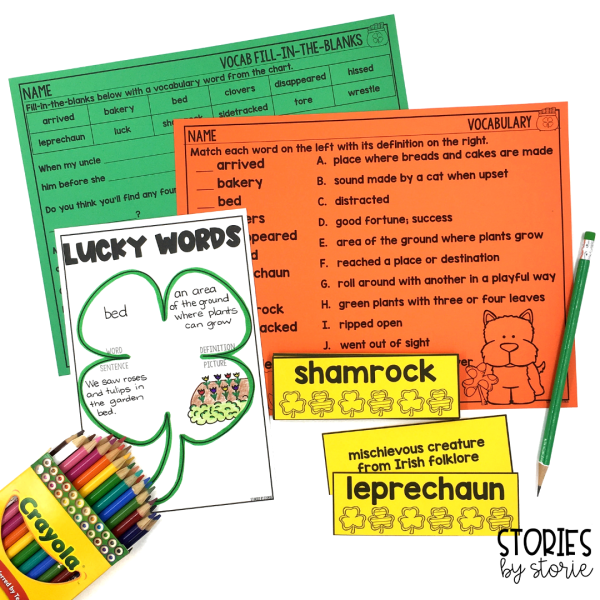 I selected 12 vocabulary words for the book, Lucky Tucker. There are vocabulary cards with definitions, a shamrock-themed graphic organizer for additional practice, and two practice pages.