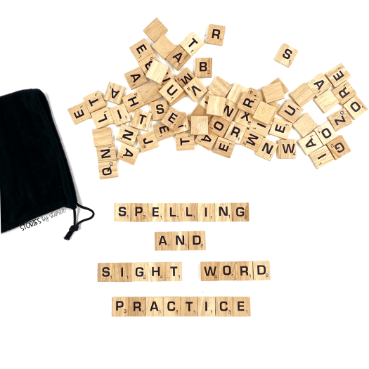 Are you looking for some new ways for your kids to practice their spelling or sight words? Borrow the tiles from a Scrabble Game. Not only can kids work with their words, but they can tie in some math skills, too!