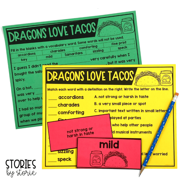 After reading Dragons Love Tacos, students can work with key vocabulary words and phrases from the book. There are vocabulary cards with definitions, a vocabulary match-up, and a fill-in-the-blanks activity.