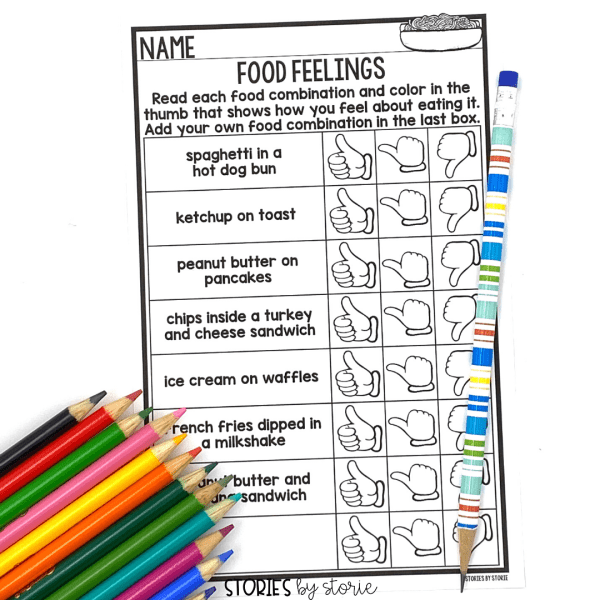 After reading Spaghetti in a Hot Dog Bun by Maria Dismondy, students can explore different food combinations with this food feelings activity.