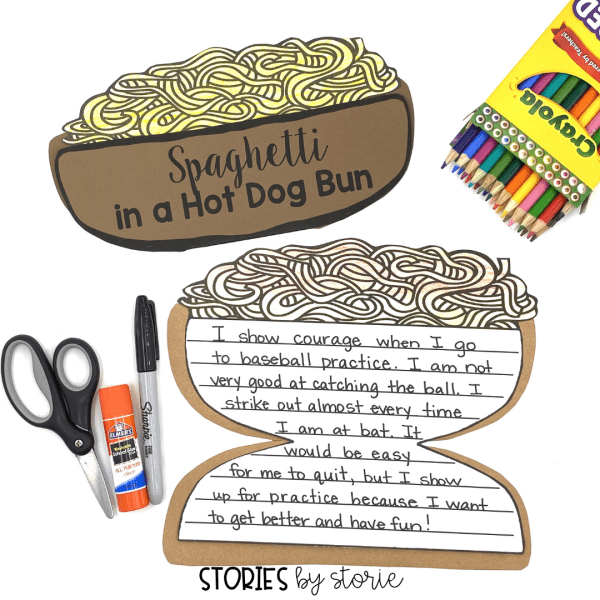 After reading Spaghetti in a Hot Dog Bun by Maria Dismondy, students can respond to the text with this writing craft.