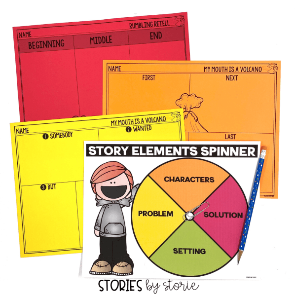 Students can retell or summarize My Mouth is a Volcano using these graphic organizers. This spinner activity is a fun way to work on story elements, too!