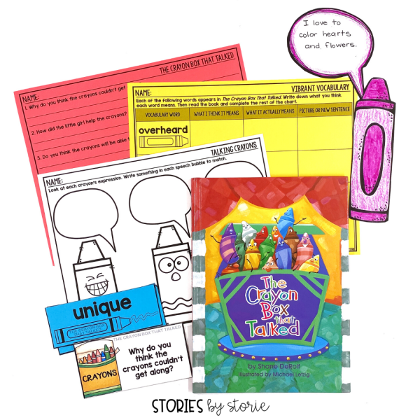 Here are a handful of activities to pair with The Crayon Box That Talked by Shane DeRolf. This includes discussion questions, vocabulary cards, graphic organizers, and more!