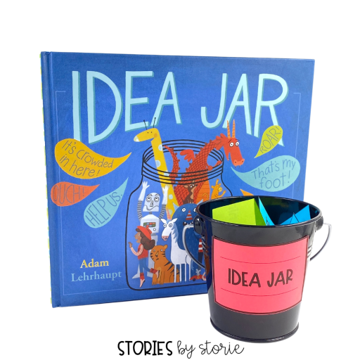 Once you've read Idea Jar, you can create a story inspiration center in your classroom. Print the character, setting, and problem/plot cards onto different colors and place in a jar. Students can draw several cards to get started.