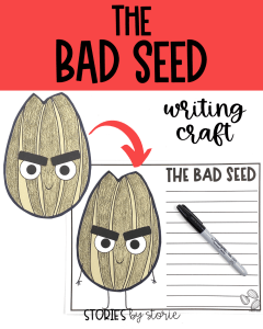 After reading The Bad Seed by Jory John and Pete Oswald, your students can bring the character to life with this writing craft. There are several prompts to choose from, but students can always choose their own.