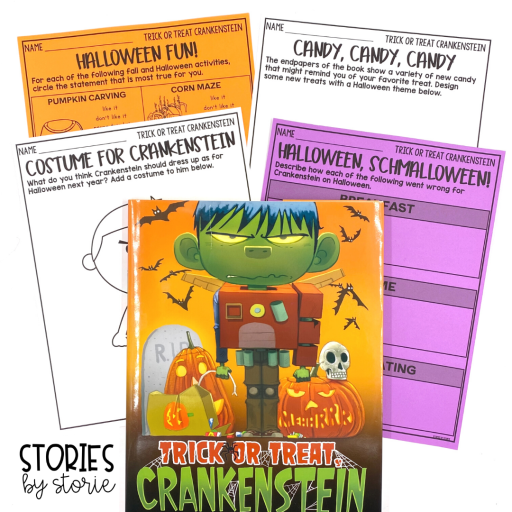 Here are several activities to use with Trick or Treat Crankenstein. This includes graphic organizers, a Halloween activity survey, and pages where students can design a costume and candy.