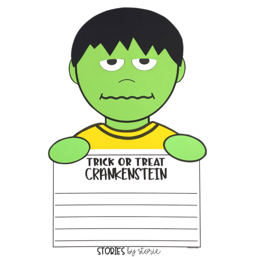 After reading Trick or Treat Crankenstein, students can put together this craft. They can write about Halloween, respond to the book, or choose their own prompt.