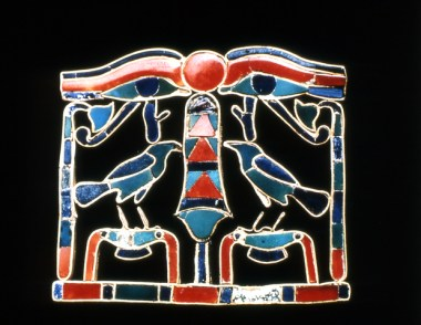 No.: 5966. Gold pectoral inlaid with precious stones, including carnelian and lapis lazuli. From Riqqeh, Egypt