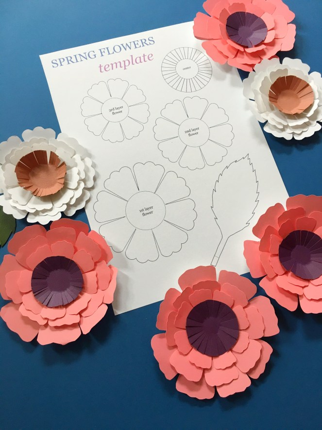 Image of completed flowers with template.