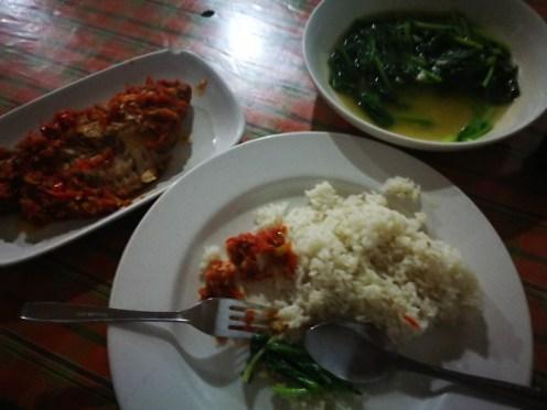 Ikan Bumbu Bali (Fish with Balinese Sauce) and Kangkong (water spinach).