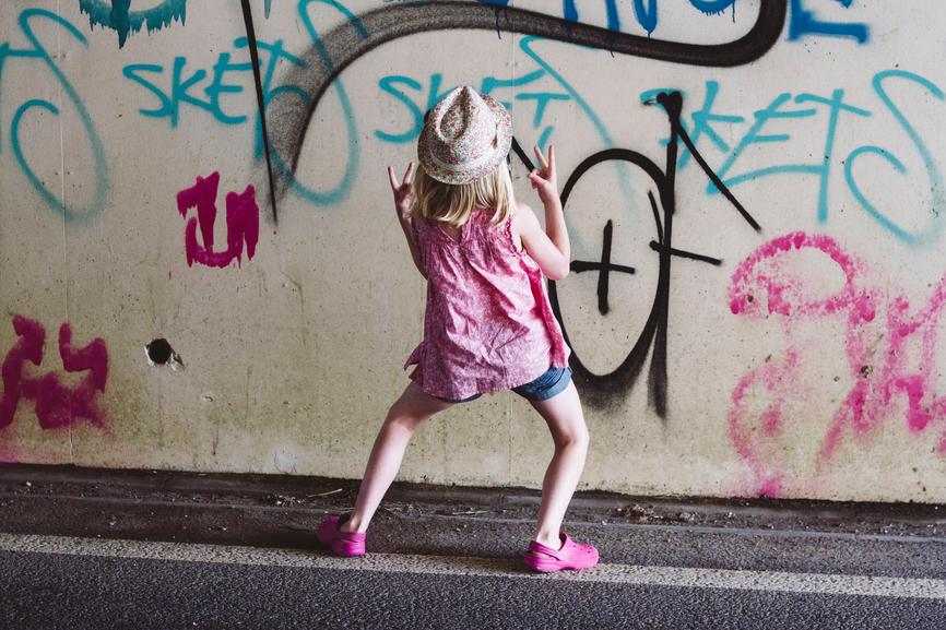 Girl Dancing by Graffiti