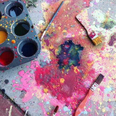 Invitation to Paint on the Sidewalk with Homemade Chalk Paint – Day 23/ 31 Days of Invitation to Create Challenge